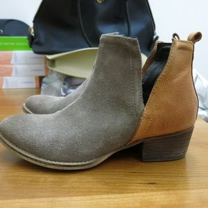 Diba True Beige Suede and Leather Cutout Booties